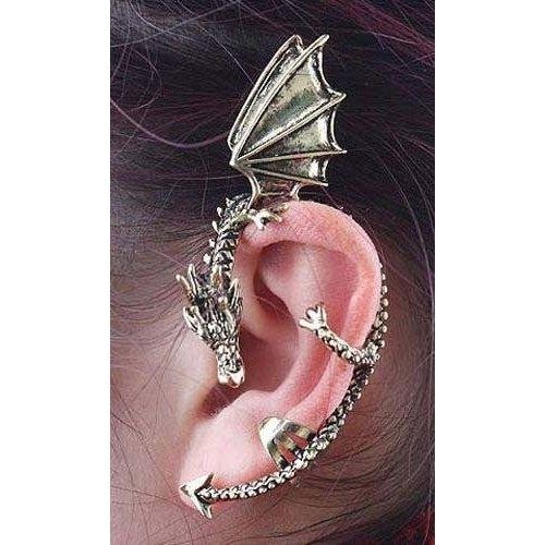 Kitty-Party Gothic Punk Rock DJ Party Bar New Dragons Lure Cuff Pewter Earring Party