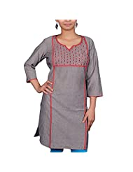 VGF 3/4 Sleeve Solid Grey Millange With Requence Work Cotton Kurti For Women