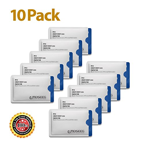 RFID Blocking Sleeves 10 Credit card sleeve protectors Secure Travel & Identitiy Theft Protection Shields Radio Frequency ID like Credit Card & Drivers license (Radio Frequency Protection Sleeve compare prices)