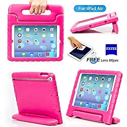 iPad 5, iPad Air Case- Kids Light Weight Kido Series Multi Function Convertible Handle Kickstand Kids Friendly Protective Shockproof Cover Case with Stand & Handle for Apple iPad Air (Rose)