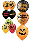 "10 Assorted 11"" Latex Balloons - Halloween Balloons - Helium Quality"