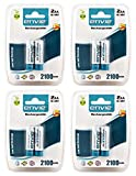 Envie 8 Pcs AA Ni-MH 2100 mAh Rechargeable Batteries