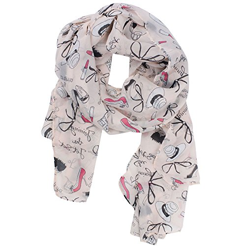 Womdee(TM) Stylish Lipsticks Bowknot High heel Shoes Multi Print Chiffon Muffler Long Scarf Shawls-Pink With Womdee Accessory (Pictures Of High Heels compare prices)