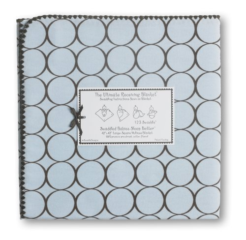 SwaddleDesigns Ultimate Receiving Blanket  - Pastel Blue with Brown Mod Circles