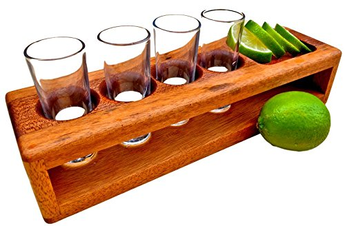 Handcrafted Shot Glass Holder Shot Caddy Shot Tray with 4 Shot Glasses, Handmade Wooden Shot Flight Rack for Shot Glass Storage and Party / Parties Glassware Serveware Drinkware Drinking Glasses/cups