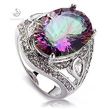 buy Salinla Jewelry Classic Fashion Rainbow Fire Mystic Topaz Silver Plated Favourite Sporty Ring R701 Size 6 7 8 9