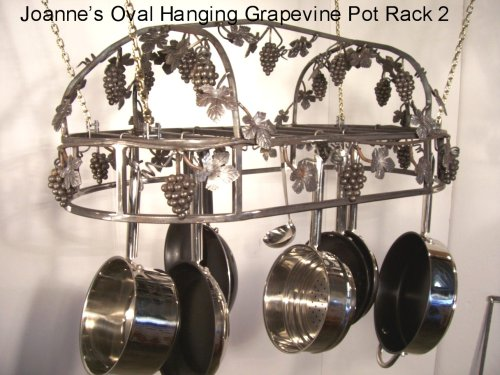 Cheap Joannes Grapevine Hanging Oval Cookware Pot Rack 18×36 (ahogtpatina1836)