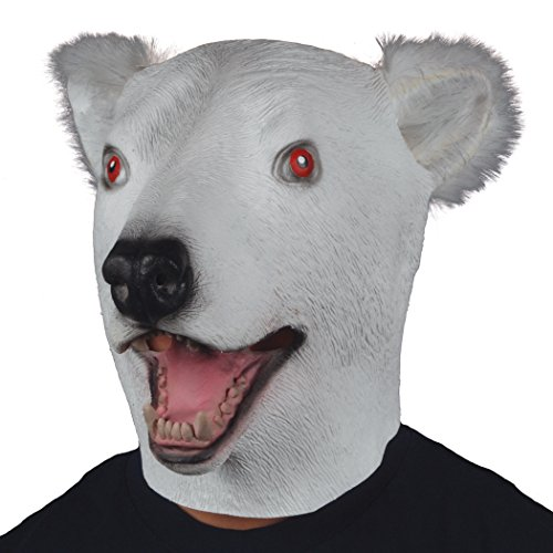 Polar Bear w Furry Ears Animal Head Mask White Black One Size (Adult)