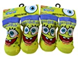 Spongebob Squarepants Booties - 2 Pairs Spongebob Baby Boy Socks - BlueTrim