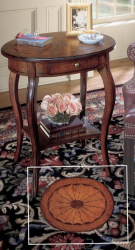 "Oval Accent Table (Cherry / Maple / Walnut / Brass) (26""H x 24""W x 18""D)"