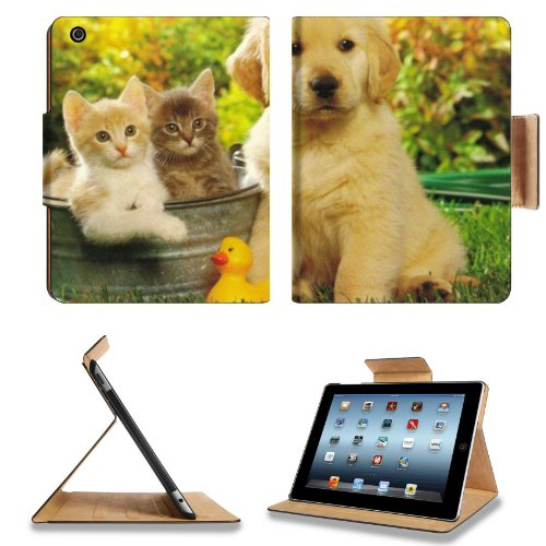 Kitten Puppy Friends Outside Play Time Apple Ipad 2Nd 3Rd 4Th Flip Case Stand Smart Magnetic Cover Open Ports Customized Made To Order Support Ready Premium Deluxe Pu Leather 9 7/8 Inch (250Mm) X 7 7/8 Inch (200Mm) X 5/8 Inch (17Mm) Msd Ipad Professional