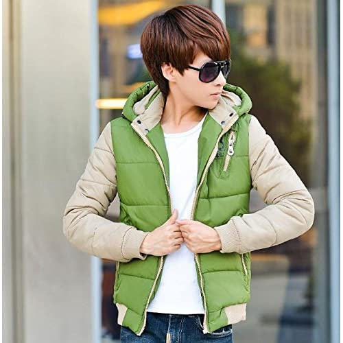 (ライフィーズ) Lifees ダウンジャケット シンプル カジュアル フード付き 胸チャック付き 冬物 防寒 北欧 サイズ M-3XL 6色 5サイズ グリーン 2XL