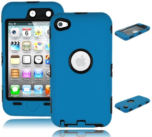 Bastex Hybrid Armor Case For Apple Ipod Touch 4, 4Th Generation - Blue And Black front-466729