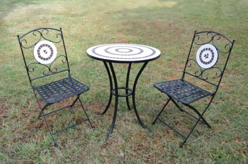 Indoor/Outdoor 2 Metal Folding Chairs and Mosaic Ring Bistro Table Set Furniture