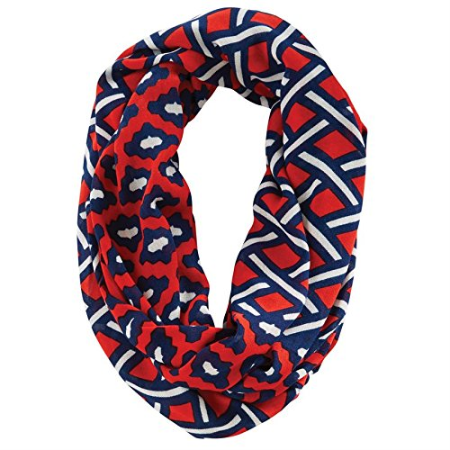Game Day Mixed Print Infinity Scarf Navy/Red (Mud Pie Scarves compare prices)