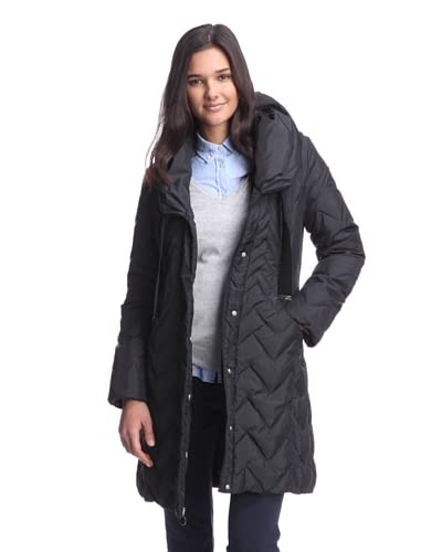 T Tahari Women's Jen Chevron Quilted Down Coat  [Black]