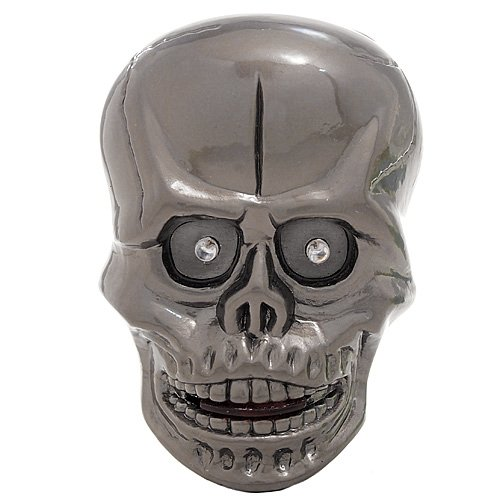 Light-Up LED Skull Lighter with Creepy Sound Effect - Gunmetal