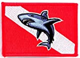 Shark Diver Down Flag Patch Embroidered Iron On Scuba Diving Emblem Souvenir