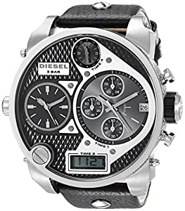 diesel dz7125 montre homme quartz analogique bracelet en cuir argent noir diesel. Black Bedroom Furniture Sets. Home Design Ideas
