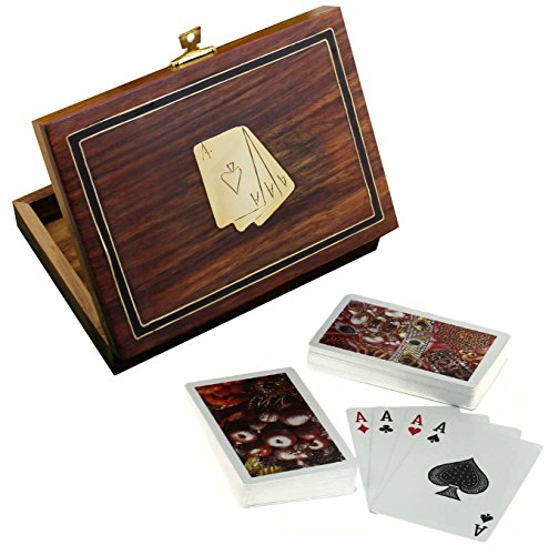 Wooden Card Holder for Playing Cards - 2 Decks of Premium Quality Playing Cards - Playing Card Decorations - 4.8