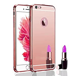 Aart Luxury Metal Bumper + Acrylic Mirror Back Cover Case For Apple6G RoseGold+ Flexible Portable Mount Cradle Thumb OK Designed Stand Holder
