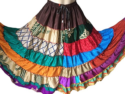 [Beautiful TRIBAL GYPSY BANJARA BELLY DANCE SARI SILK SKIRT fit S to XXL (106)] (Banjara Dance Costumes)