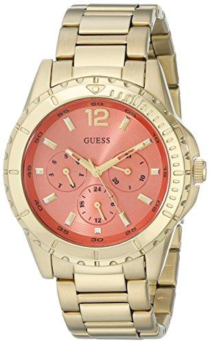 GUESS U0590L1 da donna in acciaio INOX, colore: oro, tonalità corallo con orologio, quadrante multifunzione, giorno, data & Int'l tempo, 24 ore