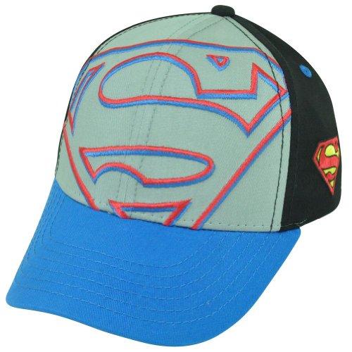 Warner Bros. Big Boys' Superman Kids Flat Brim Large Logo, Gray, One Size front-953138
