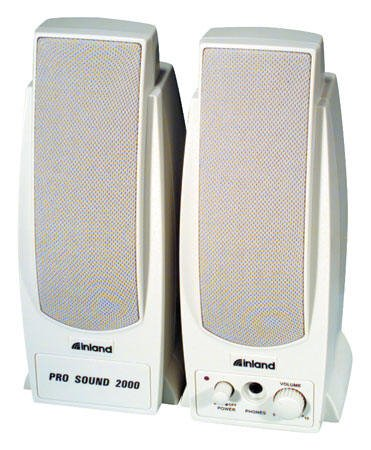 Inland Pro Sound 2000 Amplified Computer Speakers - White Magnetically Shielded 7.2W Rms
