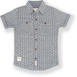 TONYBOY Boys Casual Printed Chambray Shirt (Indigo)