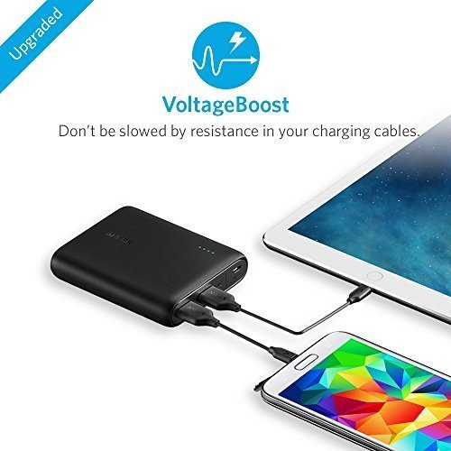 Anker PowerCore 10400 (10400mAh 2ポート モバイルバッテリー) iPhone / iPad / Xperia / Galaxy / Android各種他対応 マット仕上げ コンパクトサイズ 【PowerIQ & VoltageBoost搭載】(ブラック)