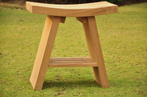 New Grade-A Teak Wood Asian Shower Spa Bench Stool Outdoor Patio Garden