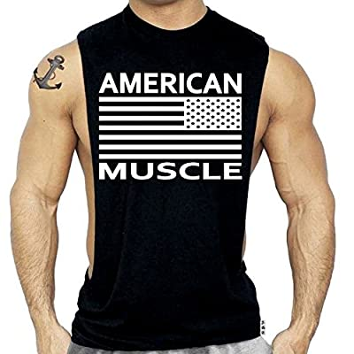 American Flag Muscle Workout T-Shirt Bodybuilding Black Tank Top