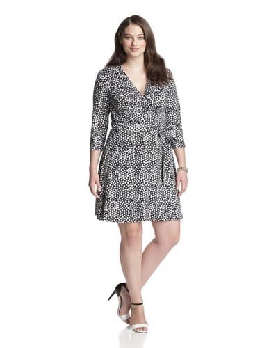 Leota Women's Plus Mini Perfect Wrap Crop Sleeve Dress