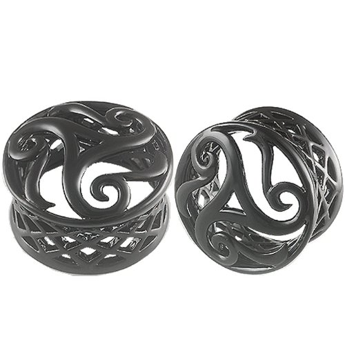 1 Inch Gauges (26.0mm) - Black Alloy Double Flared Flare Ear Plugs Flesh Tunnels Earlets AFXE - Ear stretched Stretching Expanders Stretchers - Pierced Body Piercing Jewelry BL-T-035 - Sold as a Pair