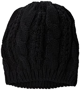 La Fiorentina Women's Acrylic Cable Knit Beanie Hat, Black, One Size