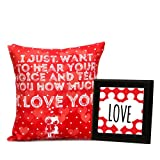 Contented Red Printed Cushion with Counter Top Gift for Valentine GIFTS110401 Romantic Valentine Gift,Valentine Gift for Him,Valentine Gift for Her,Valentine Gift for Boyfriend,Valentine Gift for Girlfriend,Valentine Gift for Husband,Valentine Gift for Wife