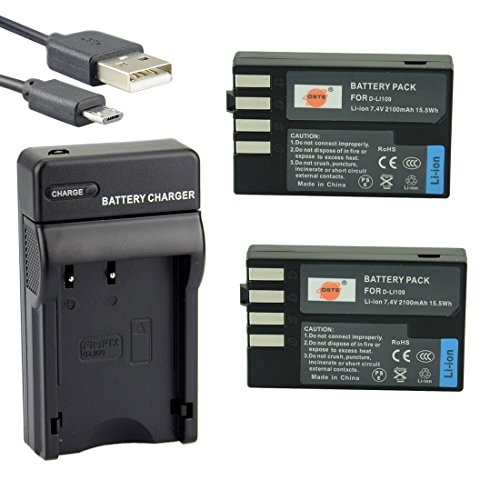 DSTE D-Li109 Li-ion Battery (2-Pack) and Micro USB Charger Suit for Pentax S2 S1 K-R K-2 K-30 K-50 K-500 (Micro D Charger compare prices)
