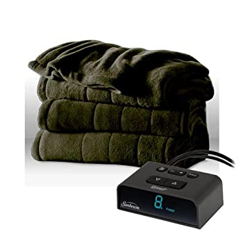 Sunbeam Channeled Microplush Heated Electric Blanket Twin Ivy Green
