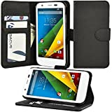 Moto G Case, Abacus24-7 Motorola Moto G Wallet Case Leather with Flip Cover, Foldable Stand, Pockets for ID, Credit Cards - Black Flip Case for Moto G