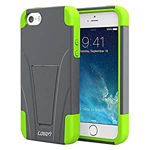 [New Release] iPhone SE Case, iPhone 5s Case, iPhone 5 Case, Collen Case with Foldable Kickstand for Apple iPhone SE / iPhone 5S / iPhone 5- Grey Green