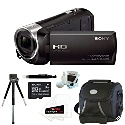 Sony HDR-CX240 HDRCX240B HDRCX240/B Full HD Handycam Camcorder (Black) + Sony 8GB Class 10 Micro SDHC R40 Memory Card + Small Gadget Camera Bag + Accessory Kit