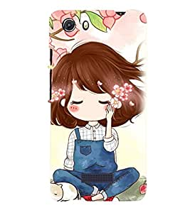 Printvisa Cute Girl Sitting Under A Tree Back Case Cover for MIcromax Canvas Unite 3 Q372
