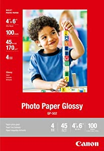 Canon Photo Paper Glossy, 4 x 6 Inches, 100 Sheets (0775B022)