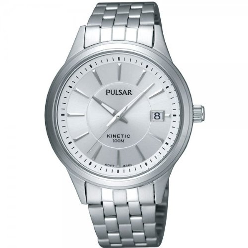 Pulsar by Seiko Kinetic White Dial Stainless Steel Bracelet Gents Watch PAR173X1