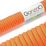 """Universell einsetzbares Survival-Seil aus reißfestem """"Parachute Cord"""" / """"Paracord"""" (Kernmantel-Seil aus Nylon), 550lbs, Gesamtlänge 31 Meter (100 ft) DIESES PARACORD SEIL IST NICHT ZUM KLETTERN GEEIGNET! Farbe: orange - Marke Ganzoo"""