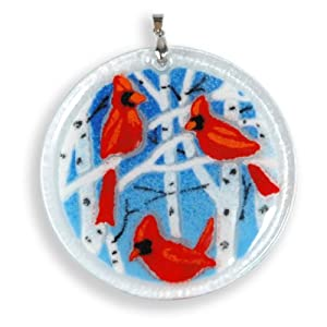 Peggy Karr Handcrafted Art Glass Winter Cardinals Christmas Ornament