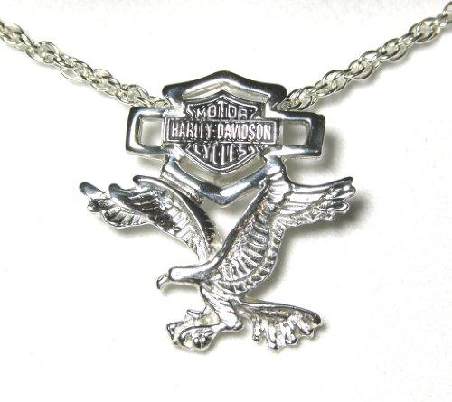 Harley-Davidson® Stamper® Sterling Silver Necklace with Eagle/Silhouette Bar & Shield Logo Pendant. HN7088
