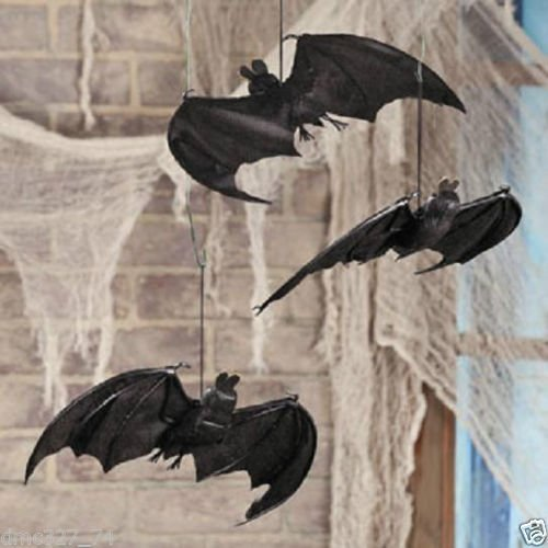 HALLOWEEN Party Haunted House Decoration Prop Spooky Fabric HANGING BATS (Cute Halloween Yard Decoration Ideas)