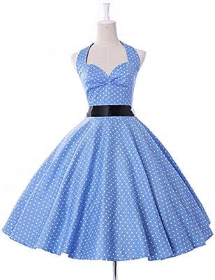 Women's Halter 1950's Vintage Style Short Cocktail Party Dress